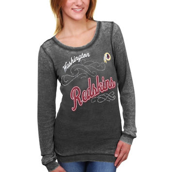 Washington Redskins Touch by Alyssa Milano Women's Blitz Burnout Thermal Long Sleeve Tri-Blend T-Shirt – Black