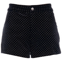 ROMWE | Dot Embellished Black Velvet Shorts, The Latest Street Fashion