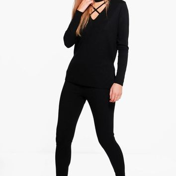 Emily Strappy Choker Jumper & Leggings Lounge Set | Boohoo