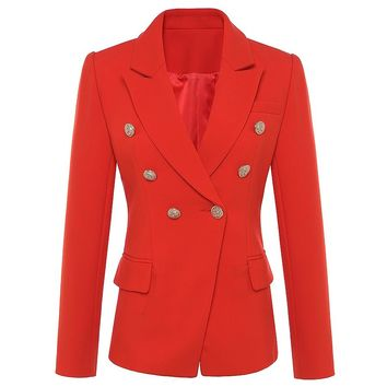 New Fashion 2018 Fall Winter Baroque Designer Blazer Women's Metal Lion Buttons Double Breasted Blazer Jacket Outer Coat Red
