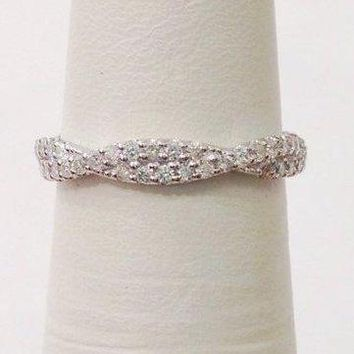Love Twisted Diamond Wedding Band - Infinity Ring 14K White Gold