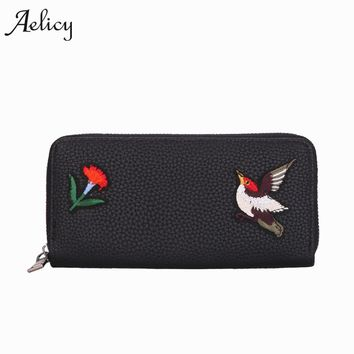 Aelicy High Quality Embroidered Women Purse PU Leather Women Wallet Brand Female Purse Long Zipper Coin Pocket With Card Holder