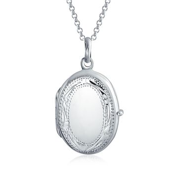 Vintage Style Etching Oval Locket Pendant Sterling Silver Necklace