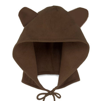 Bear Hoodie Hat - Fleece Tie Hooded Hat with Ears in Chocolate Brown - Unisex Adult & Kids Sizes