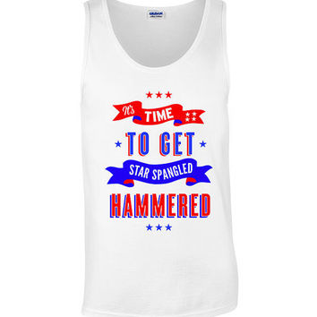 4th of July Funny Patriotic Tank Top Sleevless Tee Shirt Get Star Spangled Hammered 4th of July Shirt Women Men Outfit. Independence Day 4J7
