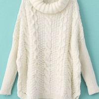 White Long Sleeve Turtleneck Chunky Cable Knit Sweater -SheIn(Sheinside)