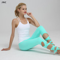 High Waist Bandage Yoga Pants For Women Elastic Workout Tights Turnout Fitness Trousers Ballet Dance Leggings 2 Colors