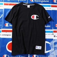 Champion spring and summer youth tide brand T shirt men and women lovers Black