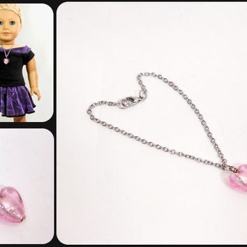 American Girl Doll Pink Heart Necklace Glass Bead on Silver Plated Chain, Love, Valentine