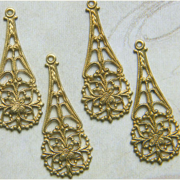 Raw Brass Filigree Floral Teardrop Dangle Pendant 12mm x 31mm - 4 pcs. (r101)