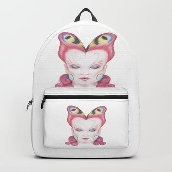 Peacock Butterfly Girl Backpack by drawingsbylam