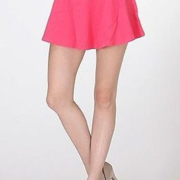 Cute Elastic Waistband A-Line Flare Pleated Stretch Peplum Skater Mini Skirt