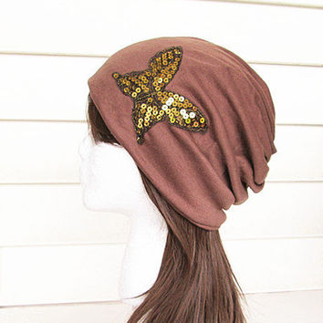 Butterfly Beanie Hat-Chocolate -Baggy Hat- Head Wrap- Slouch Cap-Hippie Hat