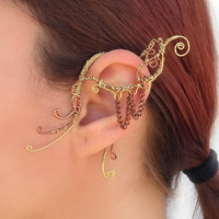 Copper and Chain Wire Wrap Ear Wrap