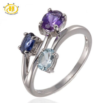 Hutang Solid 925 Sterling Silver Natural Amethyst, Aquamarnine & Iolite Gemstones Ring For Women Fine Jewelry