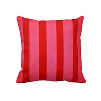 Pink and Red Stripes Pillow from Zazzle.com