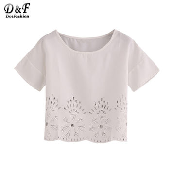Women Laser-Cut Fit Top Summer Style 2016 New Arrival Women Shirt White Hollow Short Sleeve Crew Neck Blouse