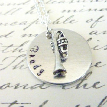 Trumpet necklace Music Necklace Music teacher Personalized Hand stamped jewelry