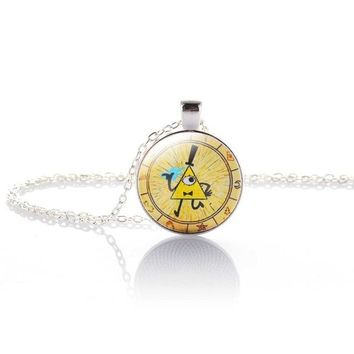 Steam punk Drama Gravity Falls Mysteries BILL CIPHER WHEEL Pendant Necklace glass doctor who Glass mens jewelr