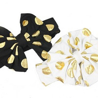 """Gold Polka Dot 5"""" Knotted Bow Headbands. 3 Colors!"""
