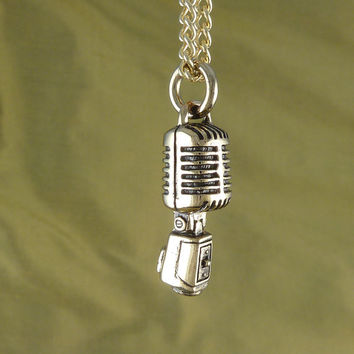 "Microphone Necklace Bronze Microphone Pendant on 24"" Gold Plated Chain"