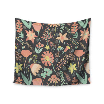 """Noonday Design """"Peachy Keen Wildflowers"""" Multicolor Gray Wall Tapestry"""