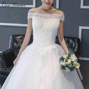 C.V Korean style Ball Gown Lace Wedding Dress 2017 Plus Size white color cap sleeve bridal gown cheap wedding dresses real photo