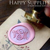 1pcs Custom Initial Monogram Gold Plated Wax Seal Stamp (WS060)