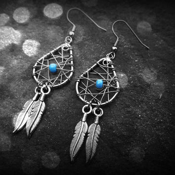 Dream Catcher Earrings - Mini tear drop