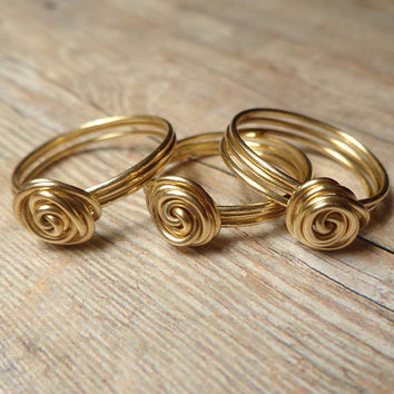 Gold Bridesmaid Gift Set, 3 Sister Rings, Bridesmaid Knot Ring, Three Sister Jewelry Gift, Bridesmaid Ring Set, Best Friend Jewelry