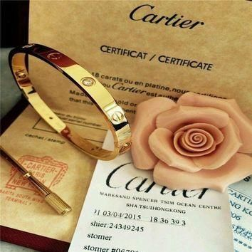 One-nice? Authentic@ Cartier 18K Love Yellow Gold Bracelet 4 Daimonds Size 19@$$