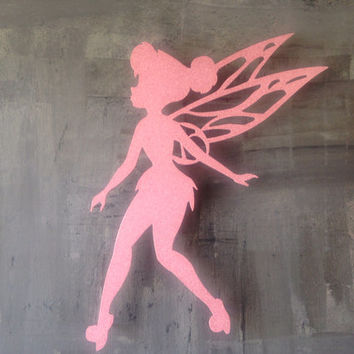 Tinkerbell Metal Wall Art - Disney Art - Pink Wall Art - Metal Art - Girls Bedroom - Peter Pan - Pink Decor