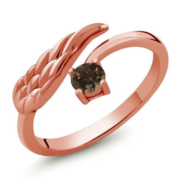 Brown Smoky Quartz 18K Rose Gold Plated Silver Wing Ring