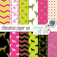 Chihuahua Digital Paper Pack – hot pink and lime chihuahua patterns with glitter – dog digital paper – scrapbook paper – commercial use OK