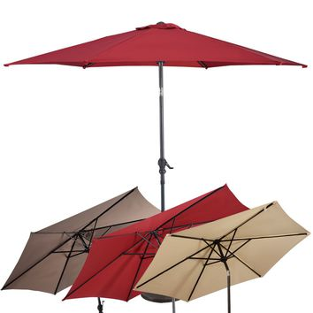 GOPLUS 10FT Patio Umbrella 6 Ribs Market Steel Tilt W/ Crank Outdoor Garden