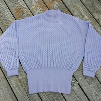 Vintage 1980s Women's Ski Sweater by Demetre - Lavender Textured Wool Ski Sweater - White Ribbon - SZ M/L