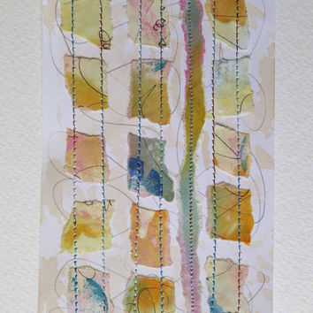 Colour Study, Collage with Stitch, Textile Art, Fibre Art, Paper, Unique, OOAK
