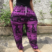 Elephant print Yoga Exercise Pants Baggy Boho hobo Comfy Style Print Hippies Gypsy Plus Size Rayon Aladdin Clothing Beach Summer pink Purple