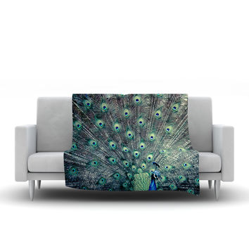 "Ann Barnes ""Majestic"" Peacock Feather Fleece Throw Blanket"