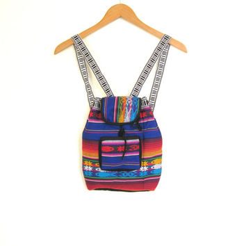 80s Mexican Blanket MINI BACKPACK Bright Colorful Tribal Fiesta Oaxaca Hippie Rave Psychedeic Boho Grunge Seapunk