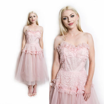 Vintage 50s Dress - Pink Lace Tulle Chiffon Strapless Full Skirt Party Prom Dress - Small