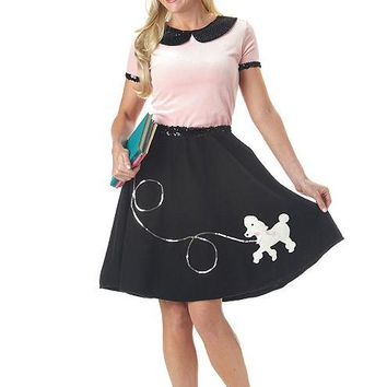 Adult 50's Hop With Poodle Skirt (Large,Pink/Black)