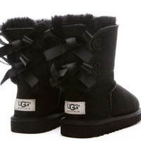 UGG: Fashion For Women Girl bow leather boots boots in tube-1