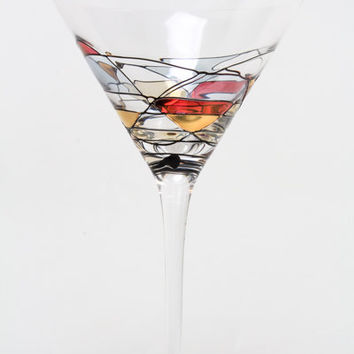 SET OF FOUR (4) - Milano Noir Hand Painted Hand Blown Cocktail / Martini Glasses 12 oz - Wedding Glasses - Free Shipping