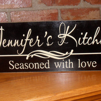 Attirant Personalized Kitchen Seasoned With Love Wall Wood Sign Plaque DESIGN YOUR  OWN