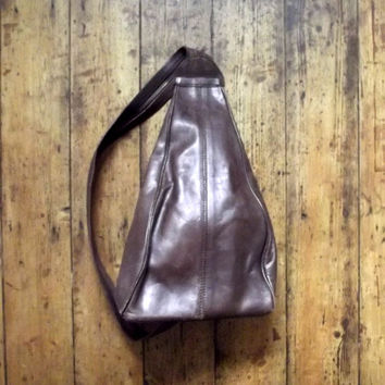 Mens vintage leather backpack / rucksack /  chocolate brown casual / womens bags / Dolly Topsy Etsy UK
