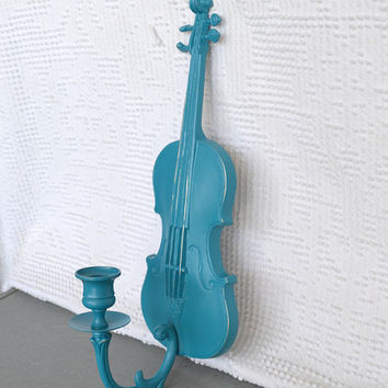 Teal Violin Metal wall hanging Candlesconce Upcycled by BeautiSHE
