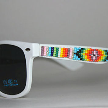 beaded sunglasses tribal print design