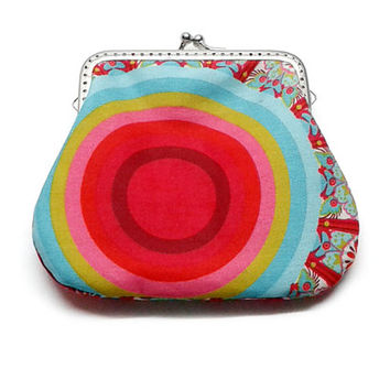 Red Ripple - Fabric Coin Purse - Framed Clutch Purse - Pastel Stripes - Silver Frame - Large coin Purse