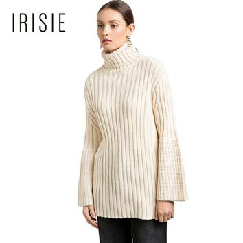 IRISIE Apparel White Ribbed Casual Female Pullover Sweaters Thicked Loose Women Sweater Preppy Sweet Chic Autumn Pullover